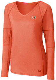 Miami Hurricanes Womens Cutter and Buck Victory T-Shirt - Orange