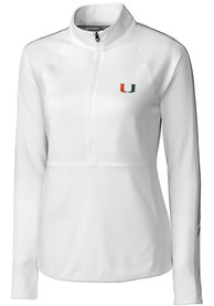 Miami Hurricanes Womens Cutter and Buck Pennant Sport Full Zip Jacket - White