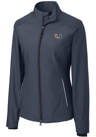 Miami Hurricanes Womens Cutter and Buck Beacon Light Weight Jacket - Black