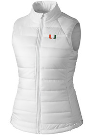 Miami Hurricanes Womens Cutter and Buck Post Alley Vest - White