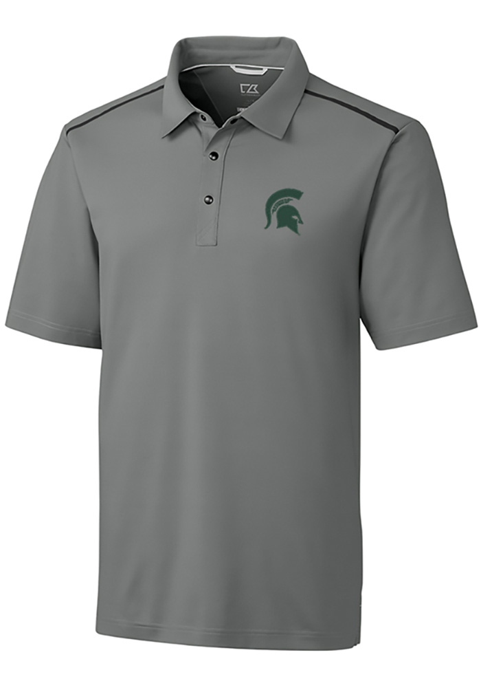 fd5eed34008 Cutter and Buck Michigan State Spartans Mens Grey Fusion Short Sleeve Polo  - Image 1