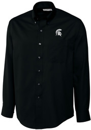 Cutter and Buck Michigan State Spartans Mens Black Epic Long Sleeve Dress Shirt
