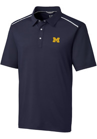 Michigan Wolverines Cutter and Buck Fusion Polo Shirt - Navy Blue