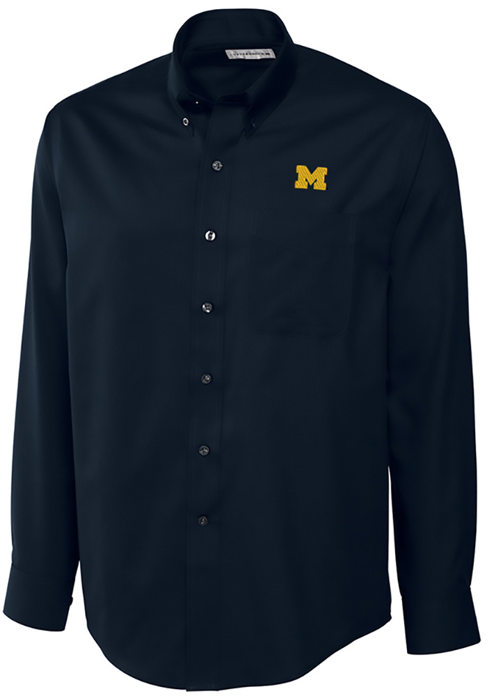 Cutter and Buck Michigan Wolverines Mens Navy Blue Epic Long Sleeve Dress Shirt - Image 1
