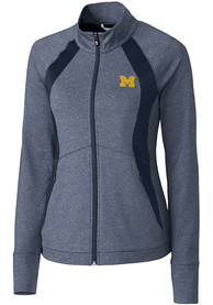 Michigan Wolverines Womens Cutter and Buck Shoreline 1/4 Zip Pullover - Navy Blue