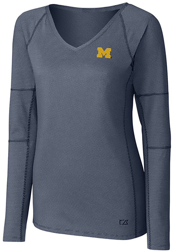Cutter and Buck Michigan Wolverines Womens Navy Blue Victory LS Tee - Image 1