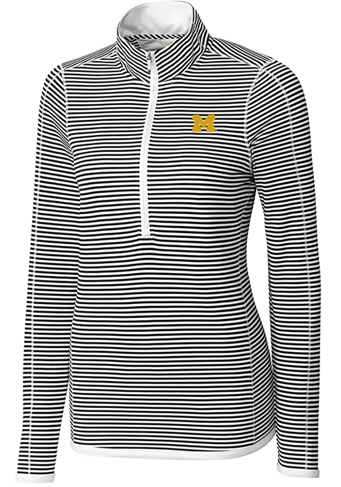 Cutter and Buck Michigan Wolverines Womens White Trevor Stripe Long Sleeve Full Zip Jacket - Image 1