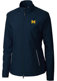 Michigan Wolverines Womens Cutter and Buck Beacon Light Weight Jacket - Navy Blue
