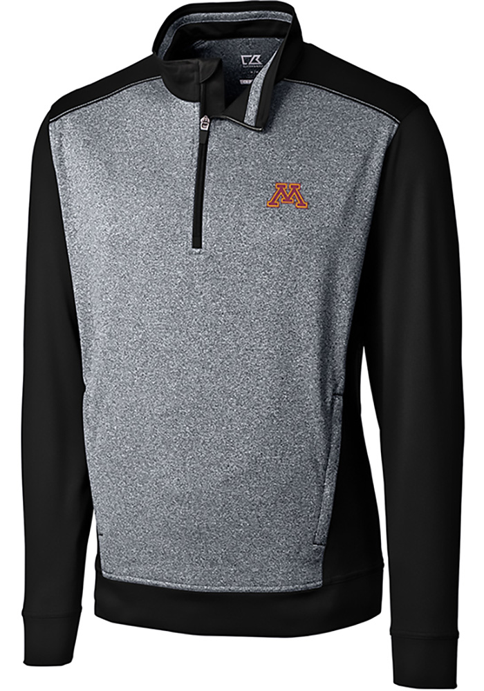 Cutter and Buck Minnesota Golden Gophers Mens Black Replay Long Sleeve 1/4 Zip Pullover - Image 1