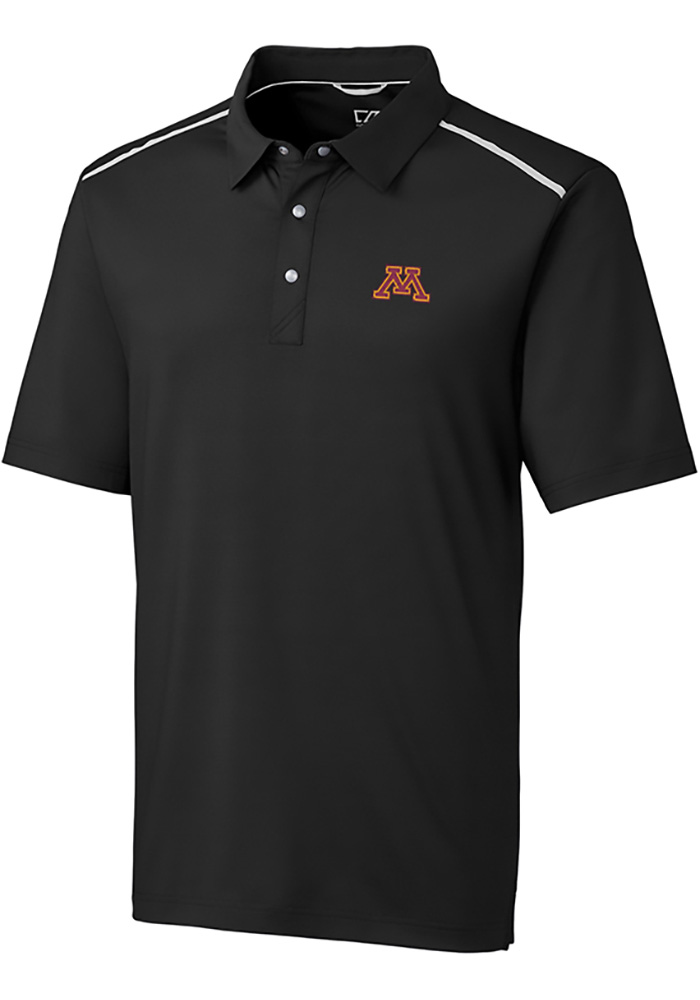 Cutter and Buck Minnesota Golden Gophers Mens Black Fusion Short Sleeve Polo - Image 1