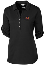 Minnesota Golden Gophers Womens Cutter and Buck Thrive Dress Shirt - Black