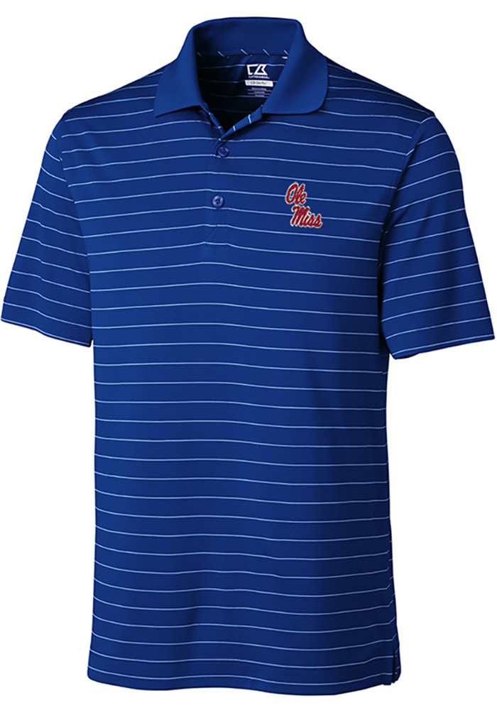 Cutter and Buck Ole Miss Rebels Mens Blue Franklin Stripe Short Sleeve Polo - Image 1