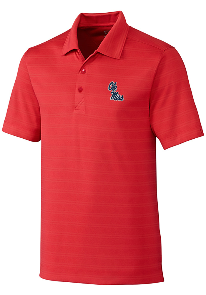 Cutter and Buck Ole Miss Rebels Mens Red Interbay Melange Short Sleeve Polo - Image 1