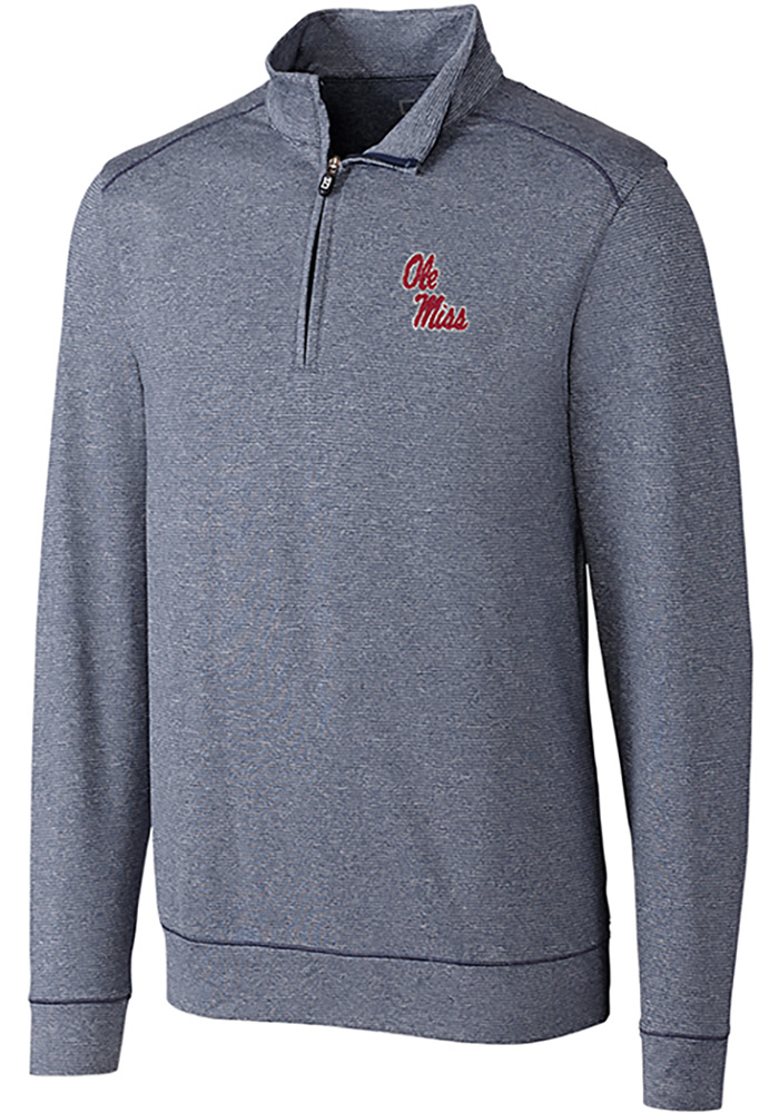 Cutter and Buck Ole Miss Rebels Mens Navy Blue Shoreline Long Sleeve 1/4 Zip Pullover - Image 1
