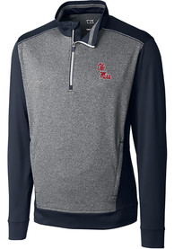 Ole Miss Rebels Cutter and Buck Replay 1/4 Zip Pullover - Navy Blue
