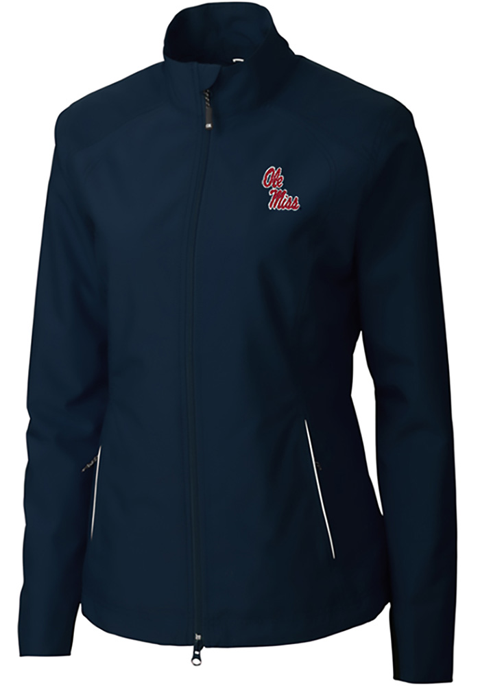 Cutter and Buck Ole Miss Rebels Womens Navy Blue Beacon Light Weight Jacket - Image 1