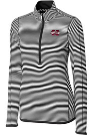 Mississippi State Bulldogs Womens Cutter and Buck Trevor Stripe Full Zip Jacket - Black