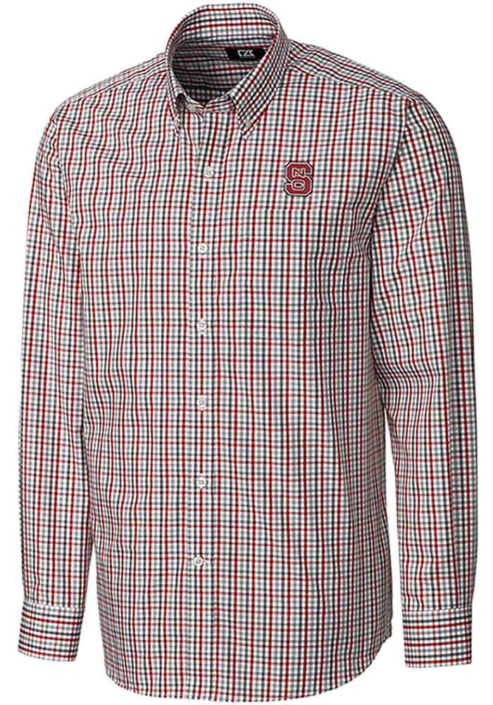 Cutter and Buck NC State Wolfpack Mens Red Gilman Long Sleeve Dress Shirt - Image 1
