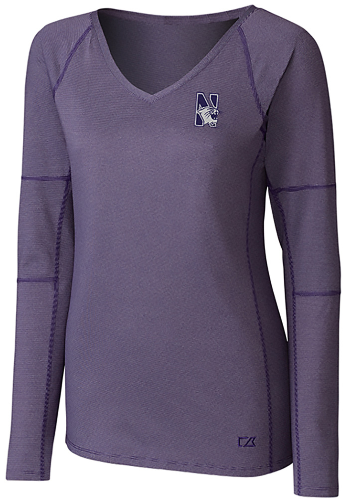 Cutter and Buck Northwestern Wildcats Womens Purple Victory LS Tee - Image 1