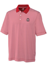 Ohio State Buckeyes Cutter and Buck Trevor Stripe Polo Shirt - Red