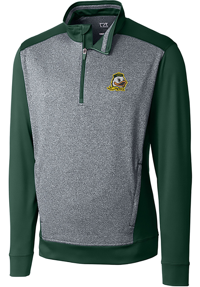 Cutter and Buck Oregon Ducks Mens Green Replay Long Sleeve 1/4 Zip Pullover - Image 1