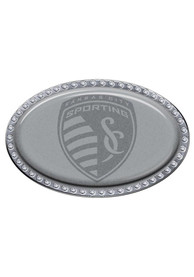 Sporting Kansas City Domed Bling Oval Car Emblem - Silver