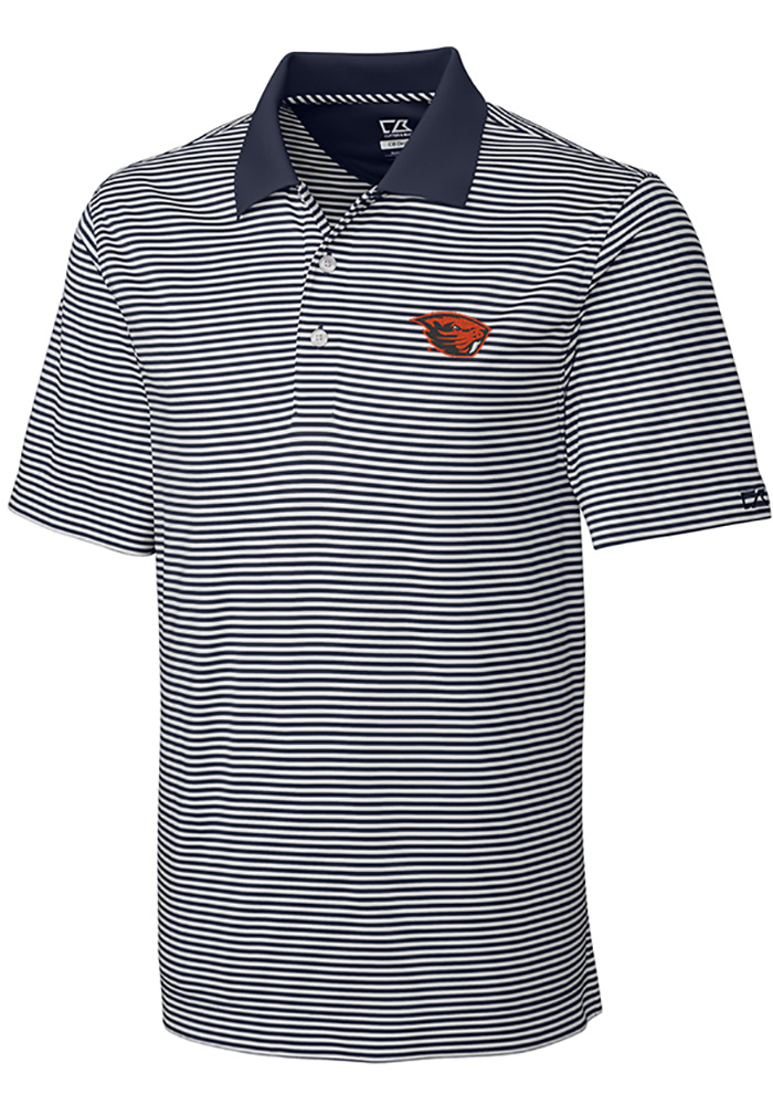Cutter and Buck Oregon State Beavers Mens Grey Trevor Stripe Short Sleeve Polo - Image 1