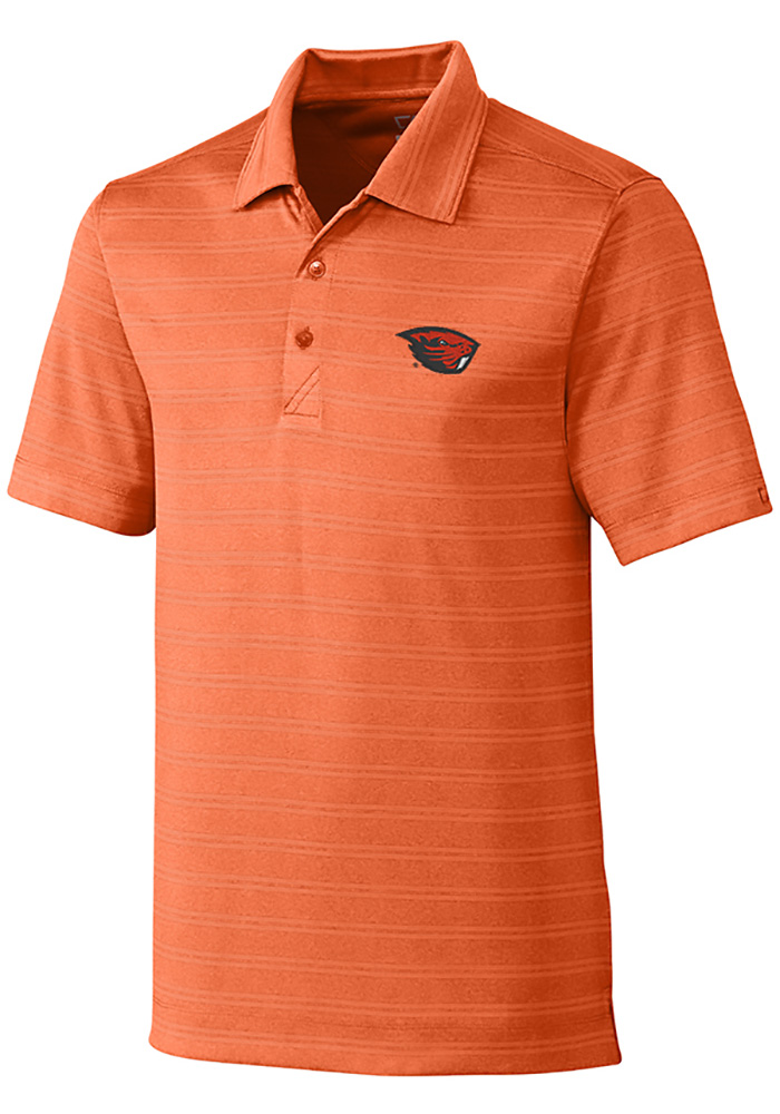 Cutter and Buck Oregon State Beavers Mens Orange Interbay Melange Short Sleeve Polo - Image 1