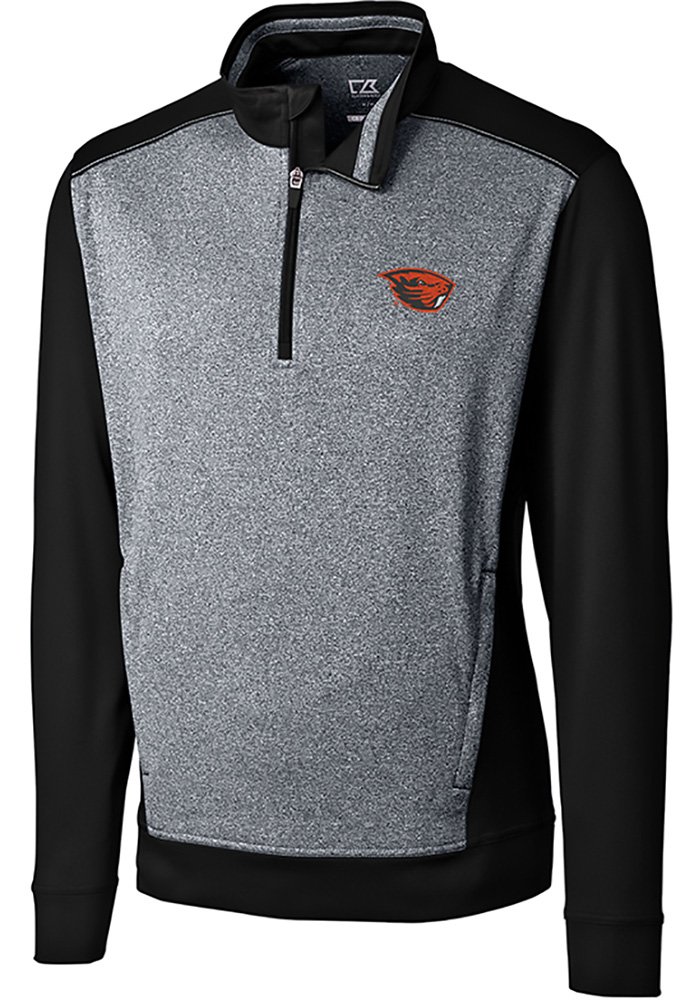 Cutter and Buck Oregon State Beavers Mens Black Replay Long Sleeve 1/4 Zip Pullover - Image 1