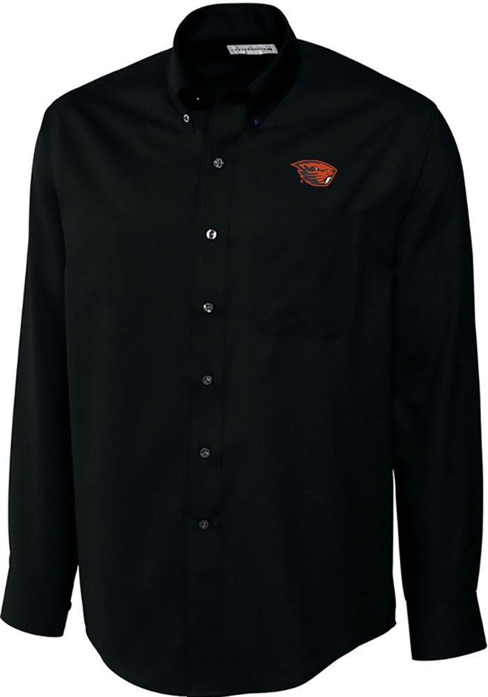 Cutter and Buck Oregon State Beavers Mens Black Epic Long Sleeve Dress Shirt - Image 1