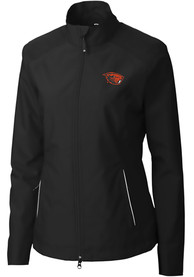 Oregon State Beavers Womens Cutter and Buck Beacon Light Weight Jacket - Black