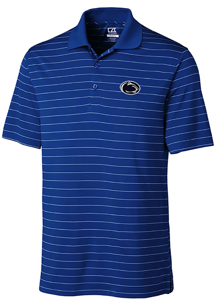 Cutter and Buck Penn State Nittany Lions Mens Blue Franklin Stripe Short Sleeve Polo - Image 1