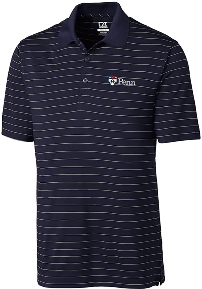 Cutter and Buck Pennsylvania Quakers Mens Navy Blue Franklin Stripe Short Sleeve Polo - Image 1