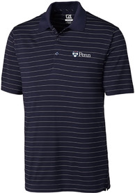 Pennsylvania Quakers Cutter and Buck Franklin Stripe Polo Shirt - Navy Blue