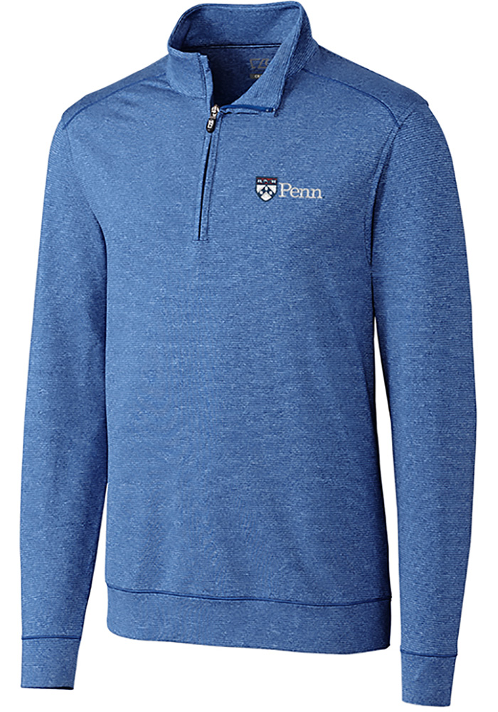 Cutter and Buck Pennsylvania Quakers Mens Blue Shoreline Long Sleeve 1/4 Zip Pullover - Image 1