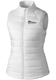 Pennsylvania Quakers Womens Cutter and Buck Post Alley Vest - White