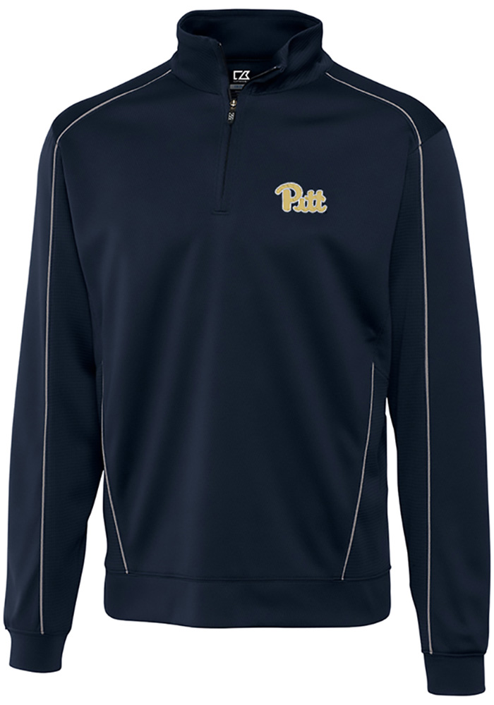 Cutter and Buck Pitt Panthers Mens Navy Blue Edge Long Sleeve 1/4 Zip Pullover - Image 1