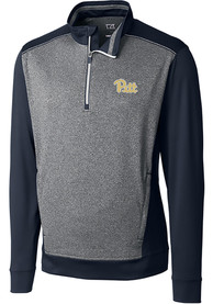 Pitt Panthers Cutter and Buck Replay 1/4 Zip Pullover - Navy Blue