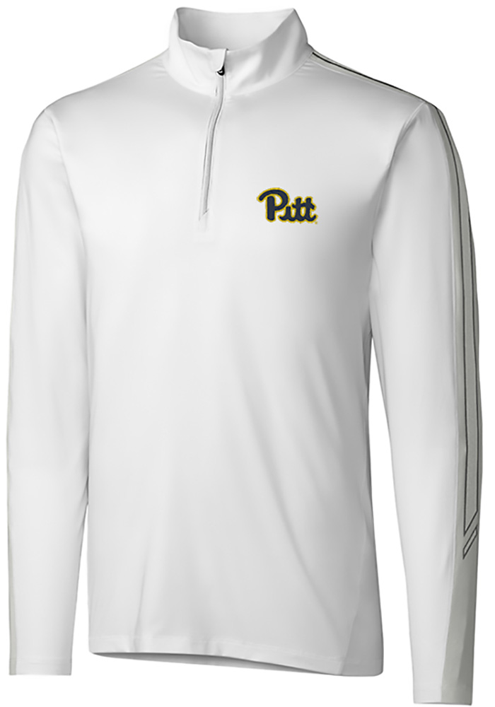 Cutter and Buck Pitt Panthers Mens White Pennant Sport Long Sleeve 1/4 Zip Pullover - Image 1