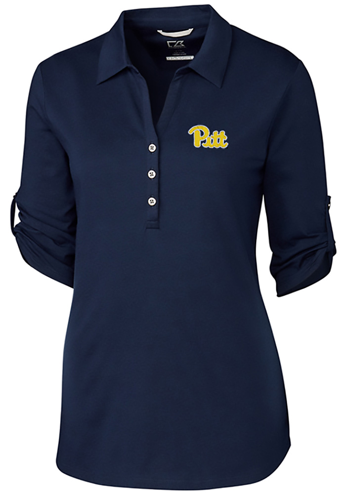 Cutter and Buck Pitt Panthers Womens Thrive Long Sleeve Navy Blue Dress Shirt - Image 1