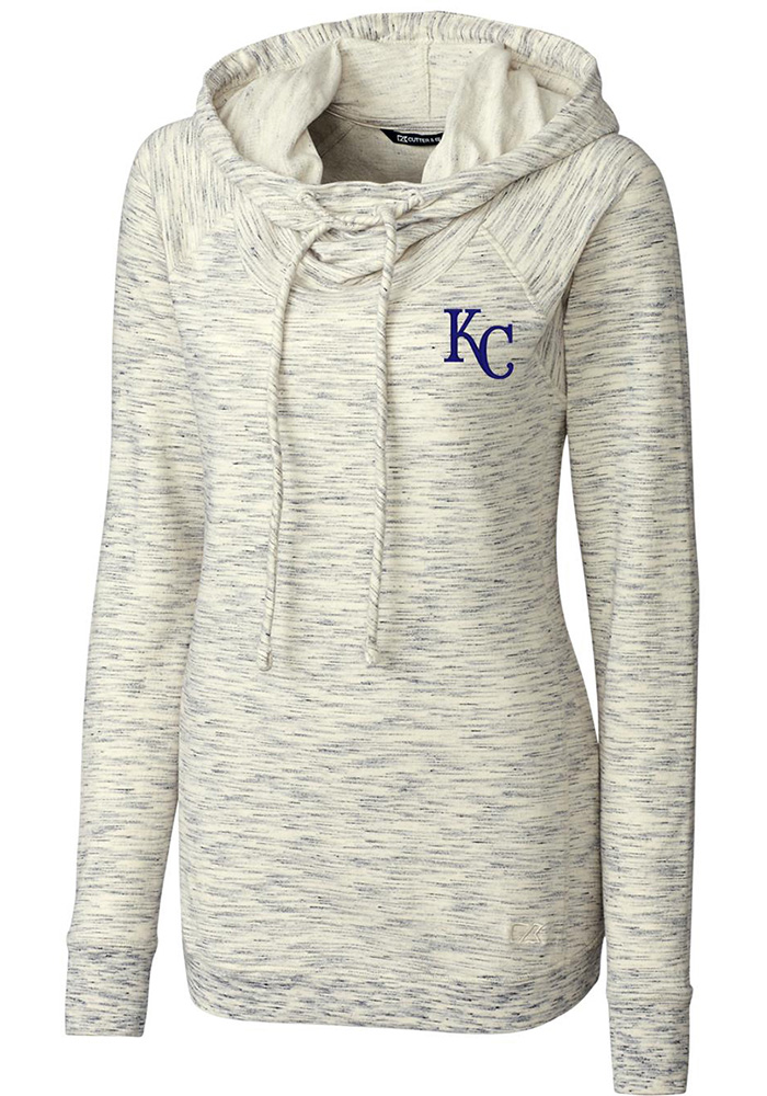 Cutter and Buck Kansas City Royals Womens Oatmeal Tie Breaker Hooded Sweatshirt - Image 1