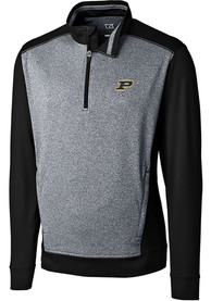 Purdue Boilermakers Cutter and Buck Replay 1/4 Zip Pullover - Black