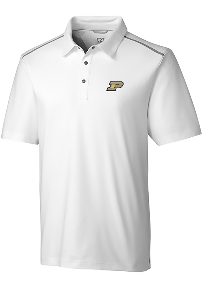 Cutter and Buck Purdue Boilermakers Mens White Fusion Short Sleeve Polo - Image 1