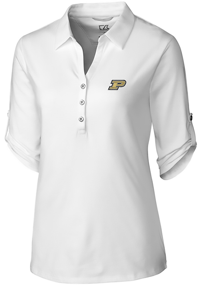 Cutter and Buck Purdue Boilermakers Womens Thrive Long Sleeve White Dress Shirt - Image 1