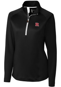 Rutgers Scarlet Knights Womens Cutter and Buck Jackson 1/4 Zip Pullover - Black