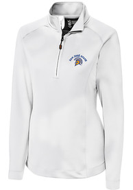 San Jose State Spartans Womens Cutter and Buck Jackson 1/4 Zip Pullover - White