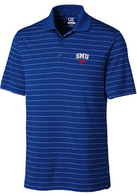 SMU Mustangs Cutter and Buck Franklin Stripe Polo Shirt - Blue