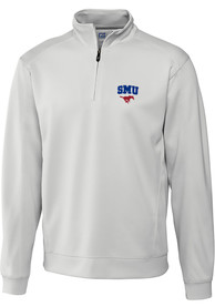 SMU Mustangs Cutter and Buck Edge 1/4 Zip Pullover - White