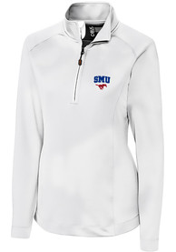SMU Mustangs Womens Cutter and Buck Jackson 1/4 Zip Pullover - White