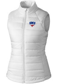 SMU Mustangs Womens Cutter and Buck Post Alley Vest - White
